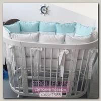 Комплект постели для круглой и овальной кроватки Marele Голубая Лагуна 460015-10, 17 предметов