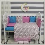 Комплект в кроватку ByTwinz Лаванда с бортиками-подушками (6 предметов)