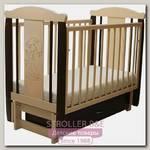 Детская кроватка Соня 05 Девочка, продольный маятник, с ящиком