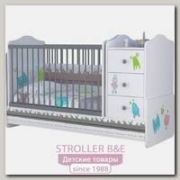 Детская кроватка-трансформер Polini Basic Монстрики с комодом