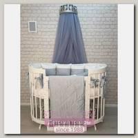 Комплект постели для круглой и овальной кроватки Marele Бело-голубая Классика 460002-10, 18 предметов