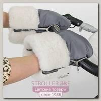 Меховая муфта-рукавички для коляски Esspero Double White из натуральной шерсти
