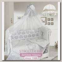 Комплект постели в кроватку Bombus Ажурный с вышивкой, 7 предметов