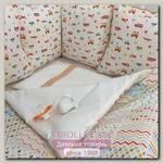 Комплект постели для круглой и овальной кроватки Marele Машинки 460200-10, 17 предметов