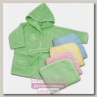 Комплект Топотушки: уголок, халат, полотенце и рукавичка из махры с вышивкой