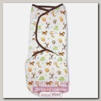 Конверт для пеленания из хлопка на липучке Summer Infant SwaddleMe размер L Джунгли