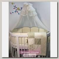 Комплект постели для круглой и овальной кроватки Marele Сливочные Снежинки 460067, 12 предметов