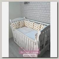 Комплект постели для прямоугольной кроватки Marele Роза Оранж 460235-12, 17 предметов