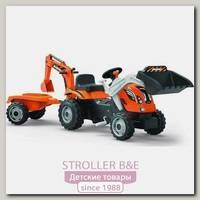 Трактор педальный строительный Smoby 710110 с 2-мя ковшами и прицепами