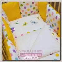 Комплект в кроватку ByTwinz Яркий Горох бортики-подушки (6 предметов)