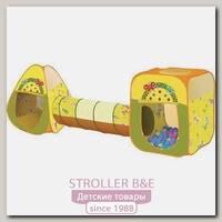 Игровой домик Ching-Ching Бабочки конус + квадрат + туннель + 100 шаров