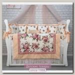 Комплект постели для прямоугольной кроватки Marele Провинция Роз 460233-12, 19 предметов