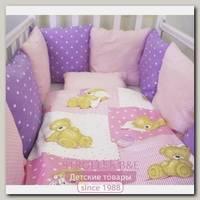 Комплект в кроватку ByTwinz Тедди с бортиками подушками (6 предметов)