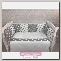 Комплект постели для кроватки Marele Серые Звезды 460265-пр, 17 предметов
