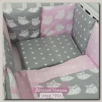 Комплект в кроватку ByTwinz Совята с бортиками-подушки, 6 предметов