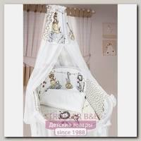 Комплект постели в круглую / овальную кроватку L'abeille Вечеринка Маленького Жирафа, 8 предметов