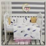 Комплект в кроватку ByTwinz Перышки с бортиками-подушками (6 предметов)