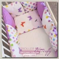 Комплект в кроватку ByTwinz Бабочки с бортиками подушками (6 предметов)