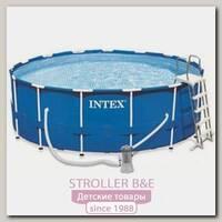 Каркасный семейный бассейн Intex Интекс круглый с лестницей и насосом-фильтром