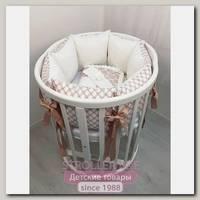 Комплект постели для круглой и овальной кроватки Marele Розовые Бантики 460214-10, 18 предметов