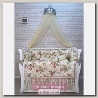 Комплект постели для прямоугольной кроватки Marele Цветы 460004-12, 19 предметов